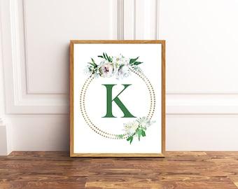 Monogram Printable Art - Letter K - Nursery Decor - Initial Wall Art - Wedding Sign - Floral Wreath - Kids Wall Art - Girl Art