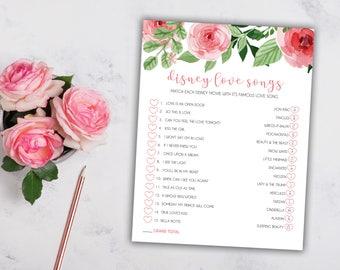 Bridal Shower Disney Love Songs Game - Pink Floral - Instant Printable Digital Download - Bridal Shower Games