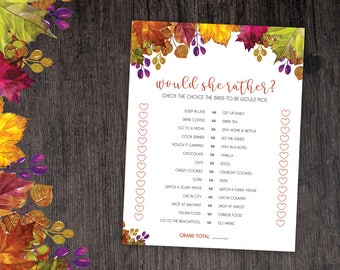 Fall Bridal Shower Would She Rather Game - Fall - Instant Printable Digital Download - Bridal Shower Games