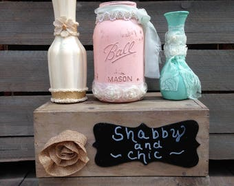 Shabby Chic Painted Mason Jar and Vase Set Centerpiece in Mint and Blush