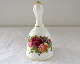 Vintage Royal Albert, Old Country Rose, Bone China England, Porcelain Bell from 1962