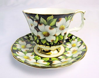 Vintage Royal Albert, Bone China England, Provincial Flowers, ''Dogwood'' Porcelain Cup and Saucer with Flower Decor from 1975