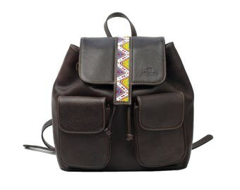 Embroiderd Leather BackPack Dark Brown - Wixárika Mexican Art