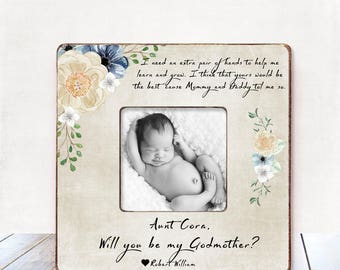 Will you be my godmother? Godmother gift Personalized picture frame Godparents to be Aunt Gift best friend gift godmother gift from godchild