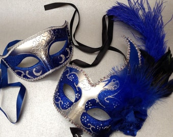 Silver Blue New Year Birthday Costume Burlesque Party Masquerade ball mask Pair