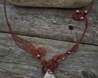 brown wire necklace with jasper pendant