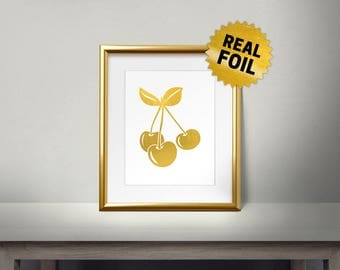 Cherry Blossom, Real Gold Foil Print, Kitchen Decor, Fruits Decor, Kitchen Art Print, Kitchen Wall Decor, Cherry Leaves, Gold Cherry