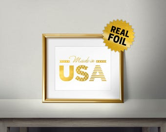 Made in USA, Real Gold Foil Print, U.S.A Flag, Gold Foil USA, America Wall Decor, Living Room, Office, American Stars, I love USA