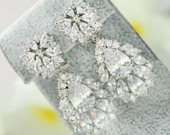Cubic Zirconia Earrings, Crystal Earrings, Rhinestone Earrings, Wedding Earrings