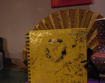 Yellow Solar Plexus Manipura Chakra Gilded Gold Leaf Notebook