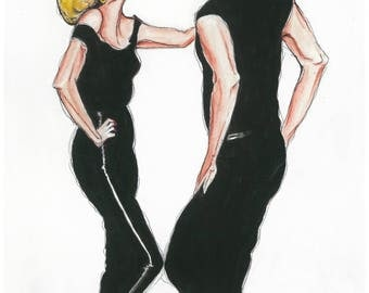 "Print. ""Danny & Sandy"" Grease Illustration"