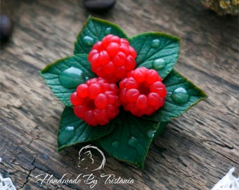 Berries brooch sweetness jewelry of polymer clay raspberries brooches idea gifts with berries handmade