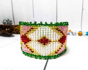 Ethnic jewelry Green bracelet Colorful bracelet Bead gift Multicolor jewelry Beaded jewelry Ethnic bracelet Beaded cuff Beadwork bracelet