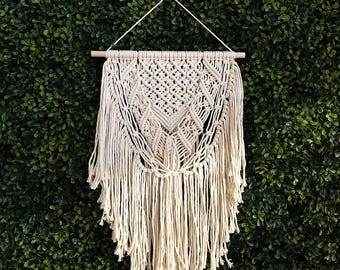 Macrame Wall Hanging on a Wooden Dowel, Woven Wall Hanging, Boho Hippie Tapestry, Bohemian Decor, Statement Piece