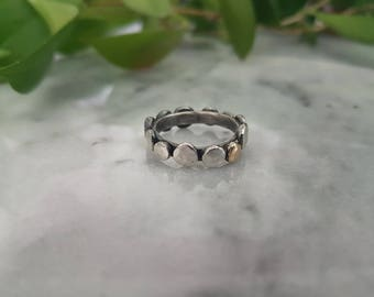 Sterling silver smashed ball ring/stacker, 9ct gold accent.