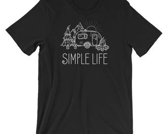Simple Life Vintage Camper Short-Sleeve Unisex Camping T-Shirt