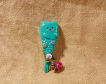 Beach Cat, Mermaid Cats, Cat With Fish Tail, Catfish, Teal Cat Jewelry, Kawaii Sea Gift, Cute Sea Gift, Kawaii Cat Fish, Kawaii cat charm