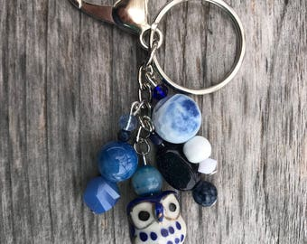 Keychains for Women, Owl Bag Charm, Owl Gifts, Owl Purse Charm, Handbag Charm, Beaded Keychain, Bag Charm, Owl Charm, Keychain with Beads