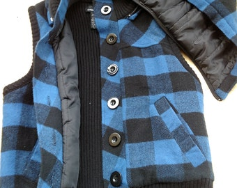 Perfect for the Change in Seasons Blue Plaid Vest with Removable Hood