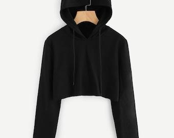 Women cat Sweatshirts Hoodie Crop Tops Solid Cat Ear Long Sleeve Cropped Sweatshirt Hooded Pullover