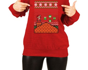 Ugly Christmas Sweater Santa Claus Gamer GIfts Xmas Jumper Christmas Outfits Holiday Pullover Off The Shoulder Slouchy Sweatshirt TEP-388