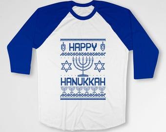 Ugly Holiday T Shirt Chanukah Shirt Happy Hanukkah Gifts Jewish Clothing Hanukkah Menorah TShirt Star Of David Raglan Sleeves TEP-555