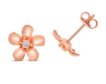 9ct Rose Gold 0.05ct HSi Diamond Daisy 6mm Stud Earrings