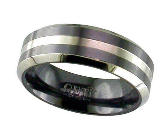 Black Zirconium Wedding Ring With Natural Centre Groove & Chamfered Edges - Made to Order - FREE ENGRAVING