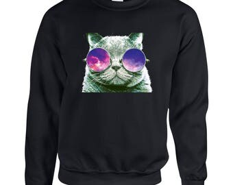 Cat with Sunglasses Adult Unisex Designed Sweatshirt Printed Crew Neck Sweater for Women and Men