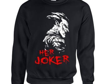 Her Joker Face Couple Goals Adult Unisex Designed Sweatshirt Printed Crew Neck Sweater for Women and Men