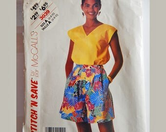 McCall's Stich and Save Womens Clothes Pattern Size 6-16   Top and Culottes  Women's sewing pattern