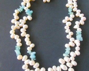 "aquamarine gemstones, natural baroque pearls,  18"" double strand"