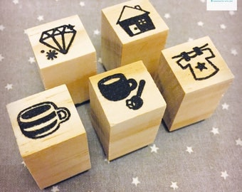 Hand Carved Household Rubber Stamp Set
