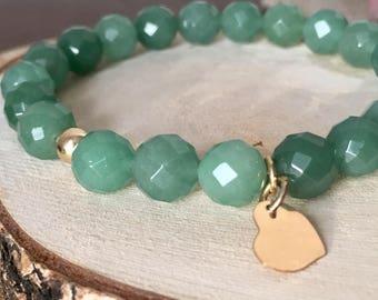 Green Aventurine Bracelet Healing Jewelry Personalized Bracelet gold Heart Charm Natural Aventurine Valentines day gifts
