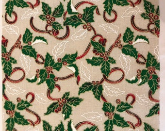Linen fabric Christmas holly  fabric 5 meters x 28cm