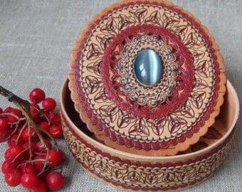 "Birch bark box with cat's eye stone , birchbark , wood carved  jewelry box , decorative box , trinket box , wood box rings  4.3""x3.9""x1.4"""