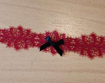 Red Lace Choker With Black Bow