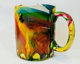 Hand painted marble design ceramic mug