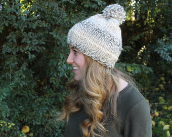Knitted Pom Pom Hat White, Beige and Blue