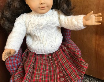 American Girl Cable Knit Sweater and Christmas Skirt