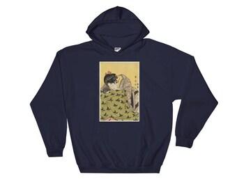 """Japanese Hedgehog Art: Utagawa Kunimasa's 1803 """"Woman with Hedgehog"""" Hooded Sweatshirt Ukiyo-e Style Hedgehog Art Hoodie"""