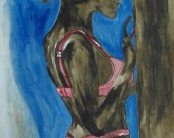 Female in pink-24 x 32 cm/-handmade original watercolor-watercolour drawing-people art-original art-Gift