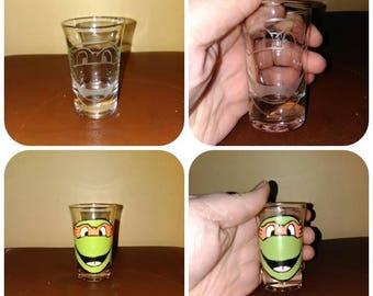 Teenage Mutant Ninja Turtles TMNT Shot Glass Michelangelo Raphael Donatello Leonardo Mikey Raph Donnie Leo Painted