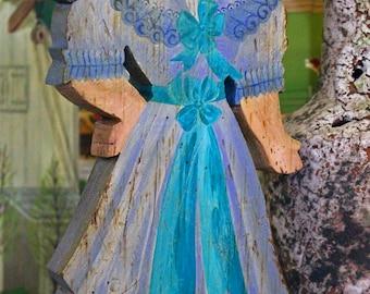 Victorian Girl in a Blue Bonnet – Folk Art Carving