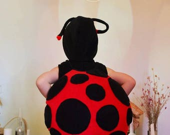 Ladybug Kids Costume size 92 Handmade Black Body Black/Red Shell