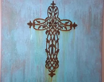 Rustic Cross Sign Painted Wooden Cross Rusty Painted Sign Religious Wall Art Mother's Day Gift Blue Patina Sign Spiritual Cross Sign