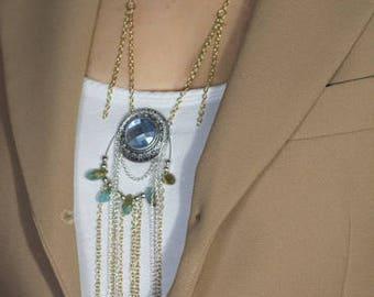 Boho Statement Silver Gold Turquoise Fringe Necklace