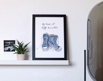 "Statement Illustration ink & Watercolor ""high heels"", interior, wall, chucks, gift, sister, girlfriend"