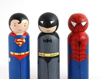 Superhero peg dolls, Superhero toys toddler, Gift superman peg doll, Batman peg doll, Spiderman peg doll, Wooden superheros, Gift for boys.