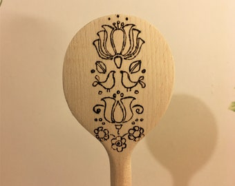 Folk art hand burned wooden spoon. Handmade, ideal gift, can be personalizes. unique design.